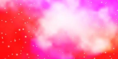 Pink and red background with stars.