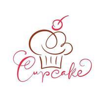 diseño de texto caligráfico de cupcake vector