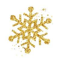 Hand drawn golden Christmas snowflake vector