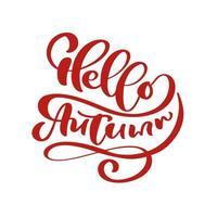 hola otoño letras texto de caligrafía