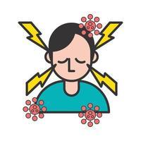 persona con dolor de cabeza y síntomas covid19 vector