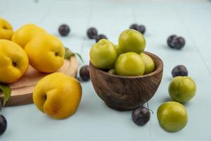 Side view of green cherry plums