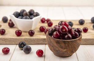Side view of red cherries in a wooden bowl