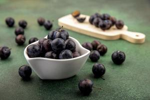Side view of dark purple sloes photo