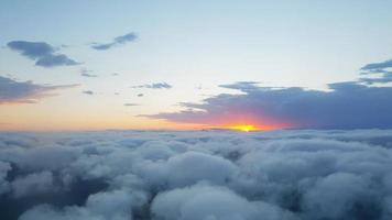 Aerial view of clouds at sunset photo