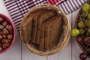 top view of rye bread slices in basket photo