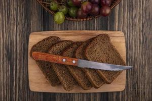Top view of rye bread slices