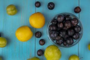 vista superior del patrón de frutas