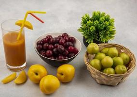 Top view of fresh fruit and juice