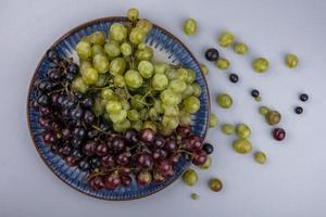 Top view of grapes in plate and grape berries on gray background