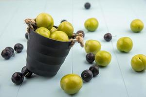 Top view of fresh green cherry plums photo