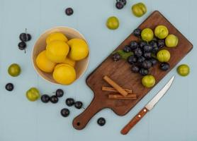 Top view of fresh on a wooden kitchen board