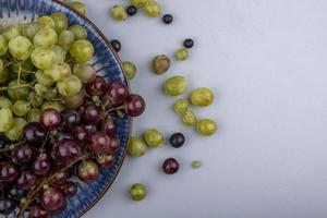 Top view of grapes in plate and on gray background with copy space
