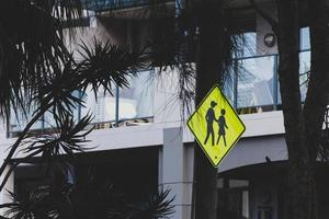 Crosswalk sign in the city
