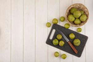 Top view of fresh green cherry plums