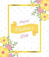 tarjeta de felicitación de flores y letras del día de la madre vector