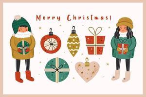 feliz navidad dibujado a mano conjunto de elementos vector