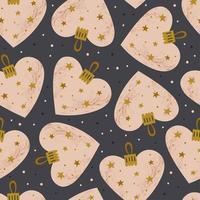 corazón rosa con estrellas doradas decoración del árbol de navidad vector