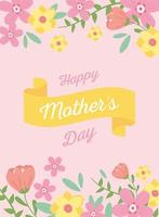 Mother's Day lettering and flowers greeting card vector
