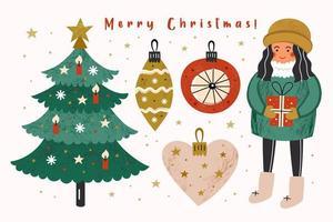 Christmas set with girl, presents Christmas tree decorations