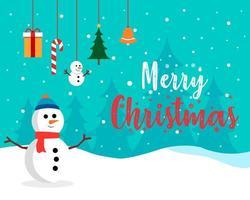 diseño de feliz navidad con muñeco de nieve en la escena inter vector