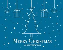 Merry Christmas and Happy New Year Flat Design Banner