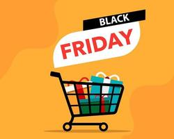 Black Friday banner with shopping cart