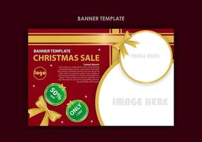 Red and gold Christmas sale banner template vector