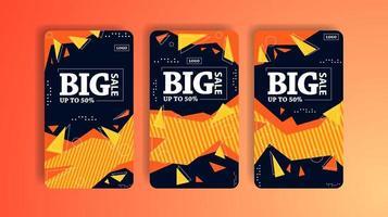 redes sociales formas geométricas banners verticales de gran venta