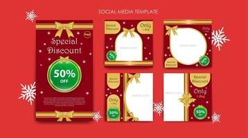 conjunto de plantillas de redes sociales para la venta de navidad