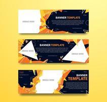 Banner abstracto naranja y amarillo con marcos de fotos vector