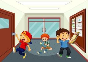 Boys at school hallway vector