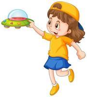 niña sosteniendo un juguete ovni vector