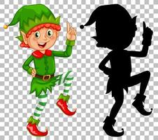 Happy elf and its silhouette set vector