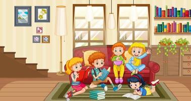 Children enjoy reading books at home scene vector