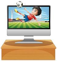 Football on computer desktop screen vector