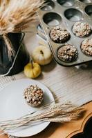 Muffins on a grey plate photo