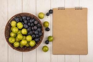 Top view of fresh fruit next to a blank notepad