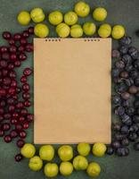 Top view of fresh fruit and a blank notepad