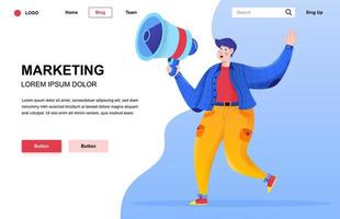 Marketing flat landing page composition vector