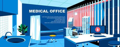 Medical office flat landing page template vector