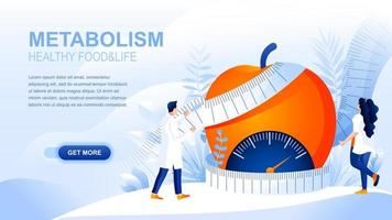 Metabolism flat landing page with header vector