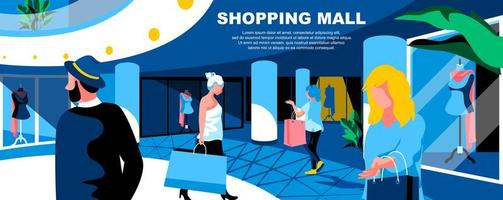 Shopping mall flat landing page template vector