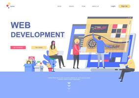 Web development flat landing page template vector