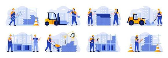 Construction site scenes bundle with people