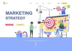 Marketing strategy flat landing page template vector