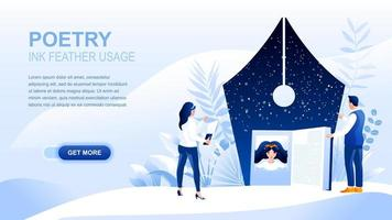 Poetry flat landing page with header vector