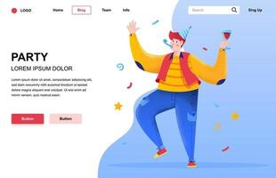 Party flat landing page composition