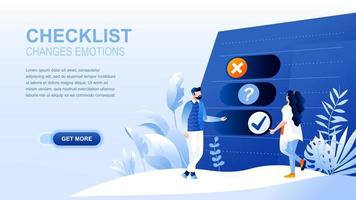 Checklist flat landing page with header vector