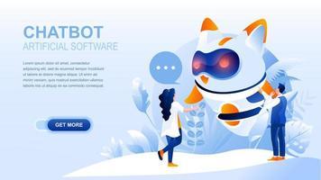 página de inicio plana de chatbot con encabezado vector